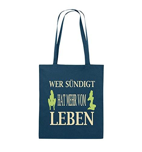 Comedy Bags - Wer sündigt hat mehr vom Leben. - Jutebeutel - lange Henkel - 38x42cm - Farbe: Schwarz / Weiss-Neongrün Navy / Beige-Hellgrün