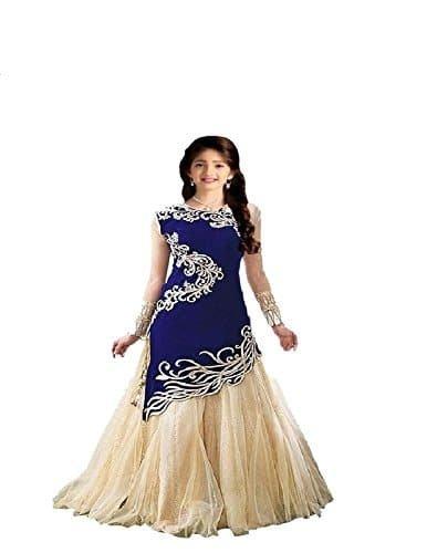 Fashion Dream Women Velvet & Net Salwar Suit(Free Size_Blue_Bbaby Zoya4)