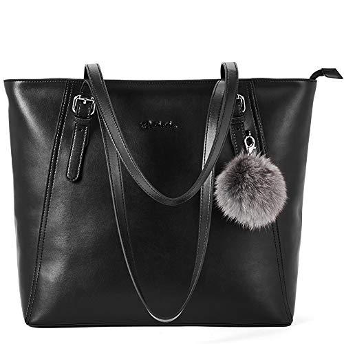 BOSTANTEN Leder Handtaschen Damen Schultertaschen Frauen Designer Ledertasche 14 15 Zoll Laptoptasche Tote Bag Schwarz -