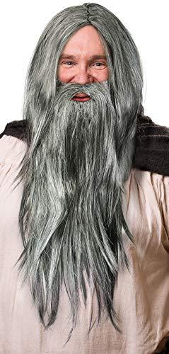 Zauberer Perücke in dunkelgrau im Set mit dunkelgrauem Bart für Herren & Damen Magier Hexer Gandalf Merlin Fasching Karneval