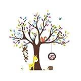 Rainbow Fox wandsticker baby wandtattoo Dschungel Zoo Tier Baum Affe Eule zum Kinder Zimmer Dekoration (1232)