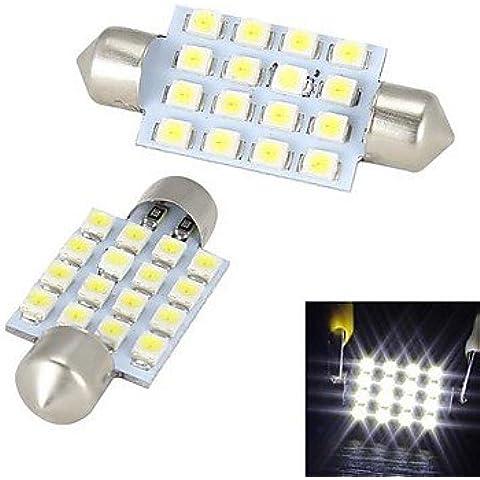RFF- festone 42mm 16 x 3528 SMD LED luce bianca per auto Luce dello sterzo / della lampadina luce di lettura - (2 pz.)-MEIXI&
