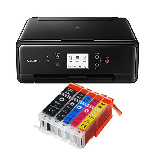 Canon Pixma TS6250 TS-6250 All-in-One 3-in-1 Farbtintenstrahl-Multifunktionsgerät (Drucker, Scanner, Kopierer, USB, WLAN, Apple AirPrint) Schwarz + 5er Set IC-Office XXL Tintenpatronen