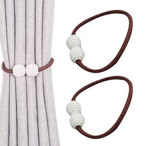 Chinashow 1 Paar magnetische Vorhang Raffhalter Perle dekorative Holdback Halter bequem drapieren Tie Backs dekorative Vorhang Holdbacks für Fenster Dekor, Kaffee
