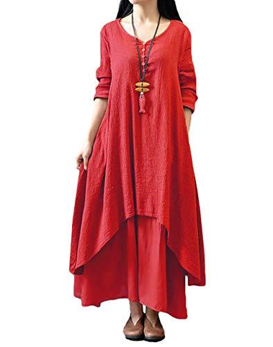 Romacci Femme Robe en Vrac Maxi Manches Longues Col V Boho A-Lin Tunique Lace Large Casual Longue, Rouge, XXXXX-Large