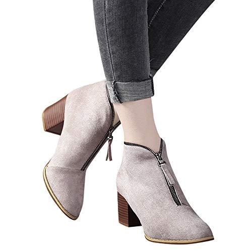 TianWlio Boots Stiefel Schuhe Stiefeletten Frauen Herbst Winter Schuhe Mode Knöchel Solide Leopard Reißverschluss Bootie Kurze Stiefel Weihnachten Beige 40