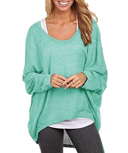 Femme Automne-Hiver Sexy Col Rond Pull Chandails Lâche Manches Chauve-souris Longues Casual Pull-over En Laine Sweater Jumper Tricots Sweat-shirt Décontracté Monissy Vert