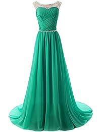Topkleider Damen Elegant Rund Stein Paillette Chiffon A-Linie Abendkleider  Lang Partykleider Brautjungfernkleider 28696082e8