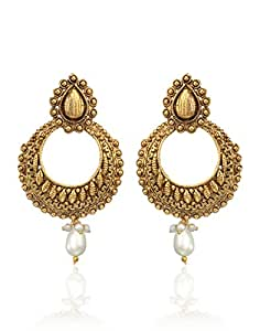 Zaveri Pearls Chand Bali Earrings for Women (Golden) (ZPFK3663)