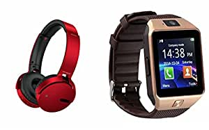 MIRZA Extra Bass XB650 Headphones & DZ09 Bluetooth Smart Watch for MICROMAX CANVAS DUET II(XB 650 Headphones,With MIC,Extra Bass,Headset,Sports Headset,Wired Headset & Bluetooth DZ09 Smart Watch Wrist Watch Phone with Camera & SIM Card Support Hot Fashion New Arrival Best Selling Premium Quality Lowest Price with Apps like Facebook, Whatsapp, Twitter, Sports, Health, Compatible with Android iOS Mobile Tablet-Assorted Color)