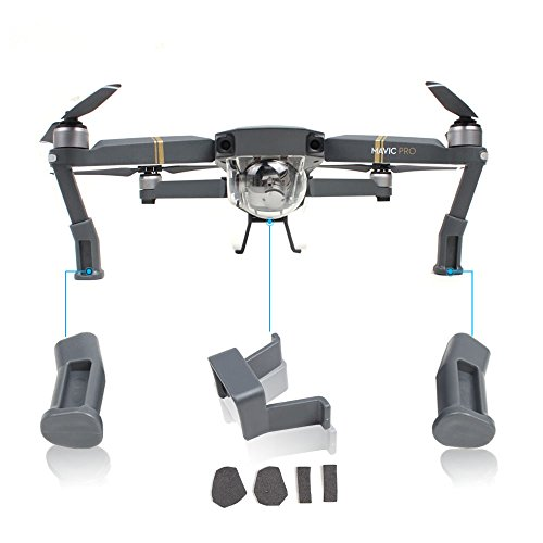Landing Gear Skid Kits Extended Heightened Landing Bracket Protector for DJI Mavic Pro Drone By Mibote (Grey)