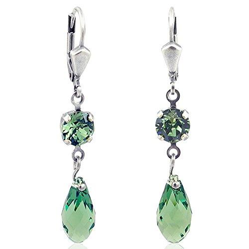 Ohrringe mit Kristallen von Swarovski® Silber Grün NOBEL SCHMUCK