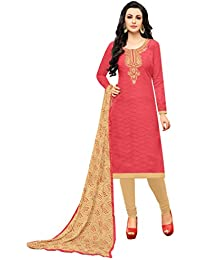 Rajnandini Women's Jacquard Embroidered Dress Material(JOPLGF16012_Peach_Free Size)