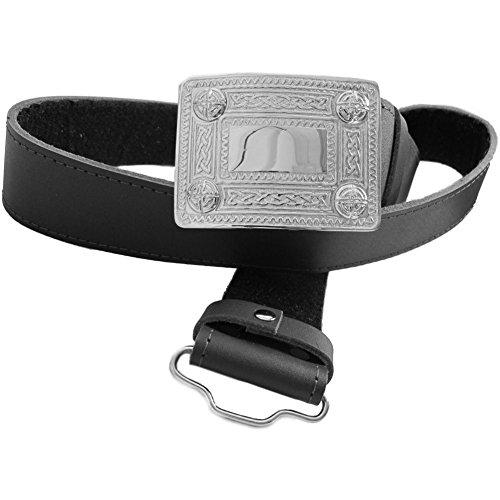 Tartanista - Cinturón para kilt escocés con hebilla para hombre - Negro - L (91cm - 114cm)
