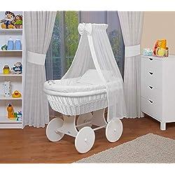 WALDIN Landau/berceau pour bébé complet -18 modèles disponibles,Cadre/Roues blanc laqué,couleur du tissu blanc