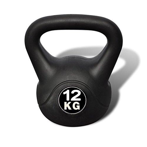 vidaXL Pesa Rusa de 12 Kilos Negra Kettlebell Musculación Fitness Ejercicio