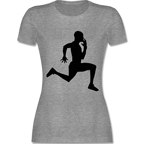 Laufsport - Läufer - tailliertes Premium T-Shirt mit Rundhalsausschnitt für Damen Grau Meliert