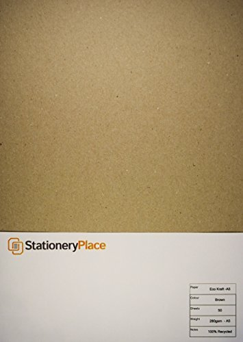 Stationery-Place-Thick-Brown-Recycled-Natural-Kraft-Card-A5-280-GSM-50-Sheet-Pack