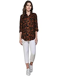Faishionpro Women's Crepe Brown Solid Casual Printed Long Top , Western Wear Top