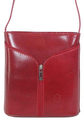 taschenTrend - Brolo kleine Hochformat Umhängetasche Leder Handtaschen Glattleder Abendtasche Crossover Bags Damen Freizeit Schultertaschen 19x18x10 cm (B x H x T) 016 Rot