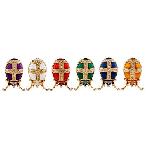 Eierbecher Set rot, weiß, gelb, grün, blau, lila Ø 4 cm Zinkdruckguss vergoldet Höhe 7 cm
