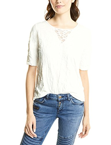 Street One Damen T-Shirt 311429, Weiß (Off White 10108), 42 (Burnout-t-shirt White)