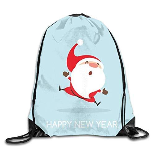 HRTSHRTE Santa Happy New Year Drawstring Backpacks Sport Leisure Bundle Backpack Beam Backpack Sport Gym Travelling Bag