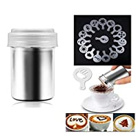 Coffee Decorating Stencils, Stainless Steel Powder Shakers with 16 Pieces Cappuccino Barista Coffee Art Stencils
