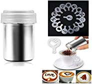 Coffee Decorating Stencils, Stainless Steel Powder Shakers with 16 Pieces Cappuccino Barista Coffee Art Stenci