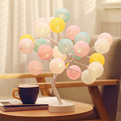 Dekorative Lampe Handgefertigt Wattebausch Baum Lampe Schlafzimmer Geschenk Nachtlicht Led Tischlampe Macaron -