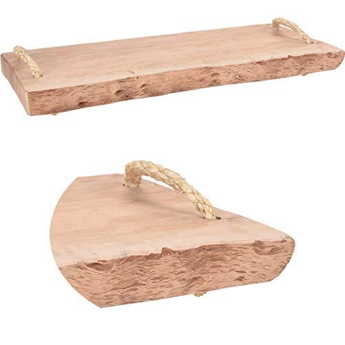 LS-LebenStil XL Mango Schneidebrett Echt-Holz 50x20x3cm Braun Vesperbrett Schneidbrett Deko-Tablett