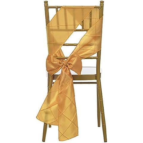 Remedios taffetà Pintuck Chair Sashes fiocco, per matrimonio, Arancione, Misura unica