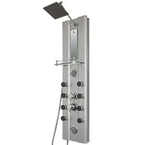 Shower Panel with 10 Massage Jets - Aluminium look - Shower Column with modern Rain Shower Head by Deuba