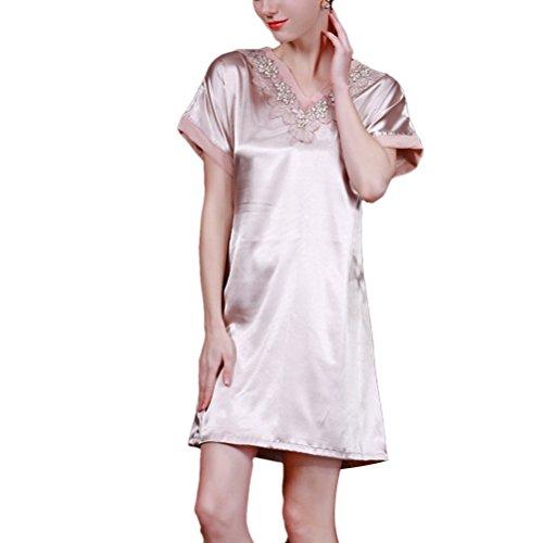 Zhhlinyuan Women's Sexy v-neck Satin Silk Lingerie Chemise Mini Night Dress SQ029 Light Tan