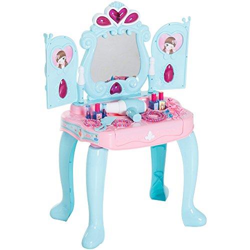 HOMCOM Kinder Prinzessin Kosmetiktisch Frisiertisch Schminktisch mit Klavier 43,5×31,5×72,5cm (Kinder-kunst-tisch Mit Ablage)