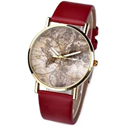 JS Direct 1x 38mm Women's Men's Unisex Quartz Wrist Watch, Casual Antique Style With 3-Hand World Global Map Design,PU Band, 5 Colors (Red Band)