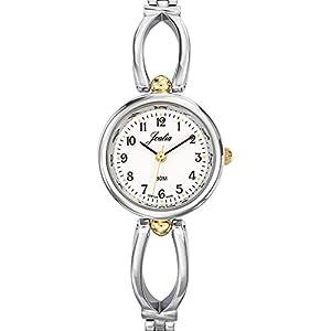 Joalia-634573-Reloj para mujer cuarzo, analógico, correa de metal, color marrón oscuro y claro de Joalia