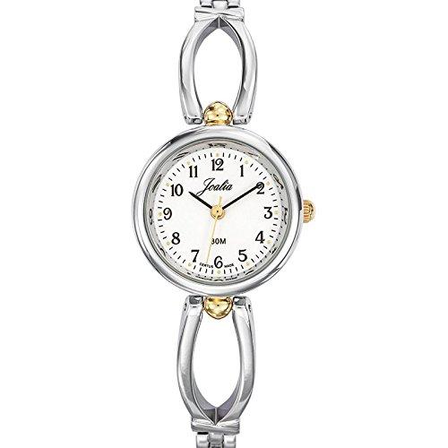 Joalia-634573-Orologio da donna con cinturino in metallo con quadrante bianco, colore anello: Bicolore