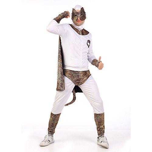 Superheld Leoparden Look Party Kostüm Herren zum Junggesellenabschied 3-tlg Overall Augenmaske Slip weiß - M (Weiß Superheld Kostüm)