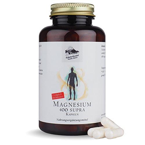 Magnesium 400 Supra • 400 mg reines Magnesium • hochdosiert • 120 Kapseln (4 Monatsvorrat) • OHNE Magnesiumstearat • Deutsche Premium Qualität • Kräuterhandel Sankt Anton - Magnesium-120 Tabletten