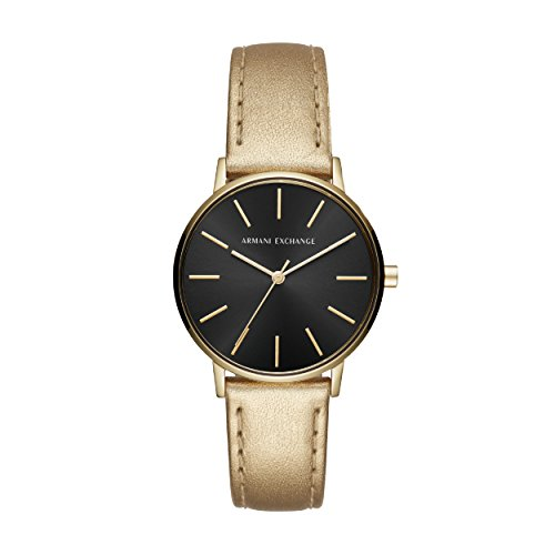 Armani Exchange Damen Analog Quarz Uhr mit Leder Armband AX5546