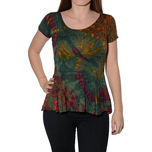 Kunst und Magie Damen Buntes Tie Dye Batik T-Shirt mit Volant, Farbe:Grün, Größe:One Size -
