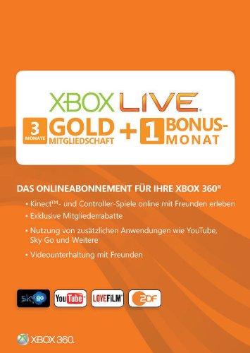 Xbox 360 - Live Gold 3+1 Monate - Xbox Monat Gold-1 Live 360-xbox