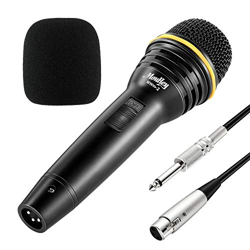 Moukey MWm-2 Dynamisches Karaoke Mikrofon mit 5M/16.40ft XLR-Kabel, Metall Handheld Mikrofon für Karaoke, Sprache, Hochzeit, Bühne und Outdoor