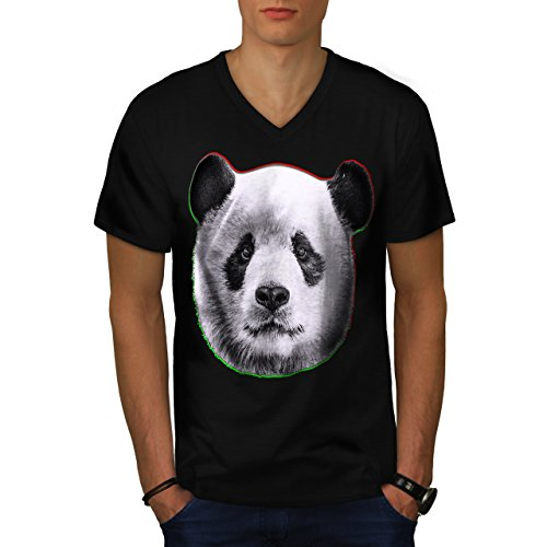 cracked-wood-panda-timber-style-men-new-black-xl-v-neck-t-shirt-wellcoda