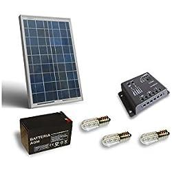 PuntoEnergia Italia - Kit Solar Votivo 20W Placa fotovoltaico Batería 12Ah 12V Controlador de carga - KV-20-B12