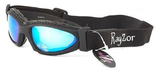 Rayzor professionnel UV400 Noir 2 en 1 ski / snowboard Lunettes de soleil / lunettes, avec un anti brouillard bleu Iridium miroir anti-éblouissement Clarté Lens et un bandeau élastique amovible
