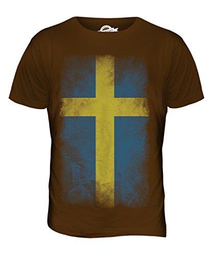 CandyMix Schweden Verblichen Flagge Herren T Shirt Braun