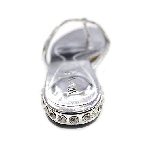 W & W Frauen Damen Abend Comfort Super leicht mit Sandalen Party Schuhe Größe (Gemz) Silber