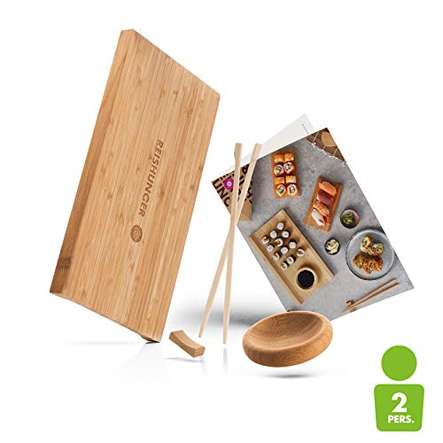Sushi Servier Set, traditionelles Service aus Bambus, 4 teiliges Geschirrset für Sushi Fans